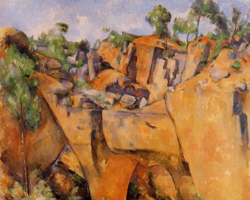Paul Cézanne's Bibemus Quarry, 1895 Oil on canvas, 65.1 x 81 cm Folkwang Museum, Essen This painting is a good example of geometric shapes in his art. Source:  HERE