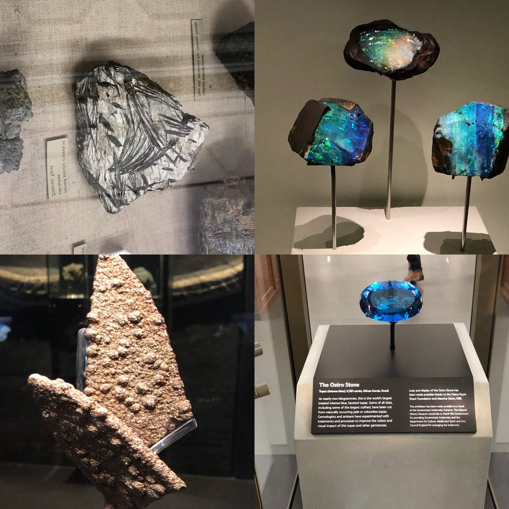 Aicular crystals in talc-schist from Tyrol, Austria: Australian Opals: Ladies slipper shaped pyrite from England: World's largest topaz from Brazil. All from the Natural History Museum in London.