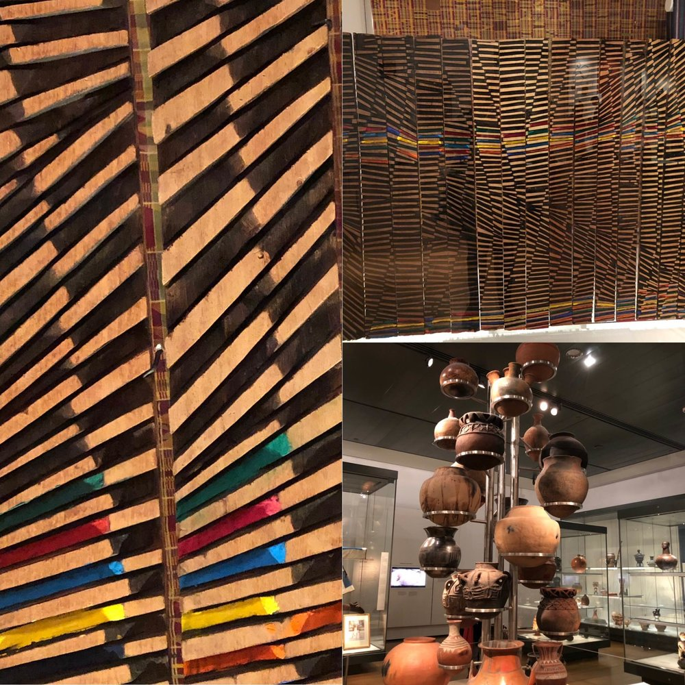 Kente Rhapsody by Ghanian artist El Anatsui. Full artwork upper right plus closeup on the left. African pottery on the lower right. All from the British Museum in London.