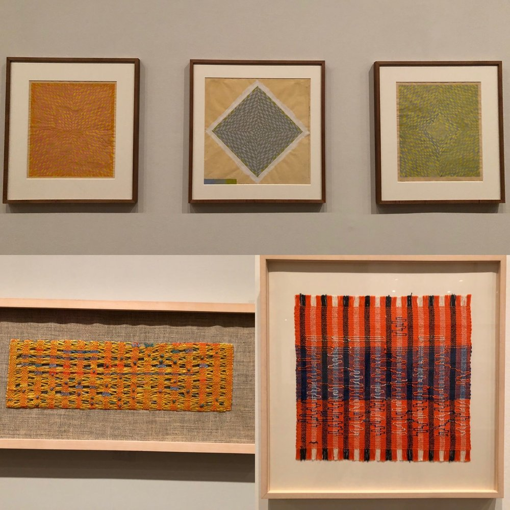 Top row: Study for DO I, DO V, and DO II, Anni Albers, Gouache on photo paper, 1973.  Bottom row: Left- Sunny, Anni Albers, cotton and linen, 1965  Bottom row: Right- Intersecting, Anni Albers, cotton and rayon, 1962.