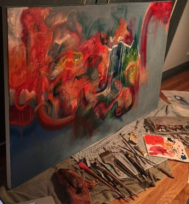 Changing it up and working on a 4x5 foot abstract painting #workinprogress