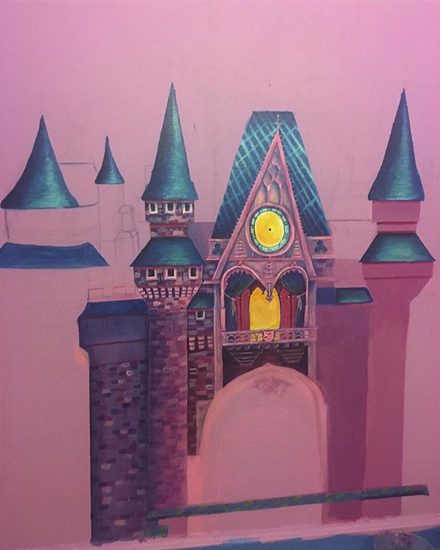 Progress photo of a recent commission I'm working on. A pink Disney castle for princess Lily Claire's nursery. 9 x 7.5 feet 👸 👑