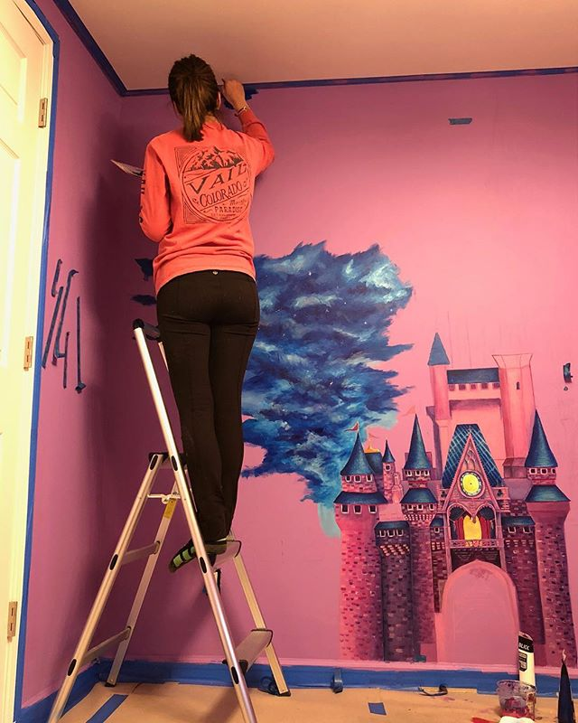 Work in progress of Princess Lily's nursery- Disney castle 👑 🌸