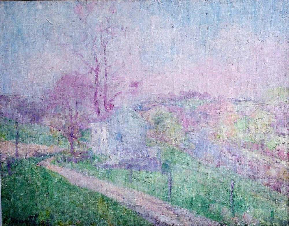 """White House in Spring Landscape"" 1923- Oil on Canvas 28"" x 36"""