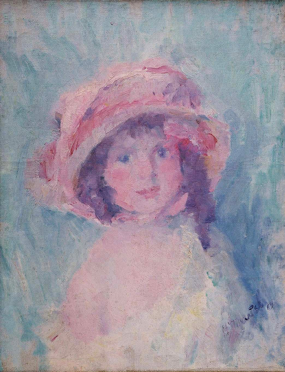 """Little Girl"" 1919-Oil on Canvas 23 3/8"" x 21 1/2"""