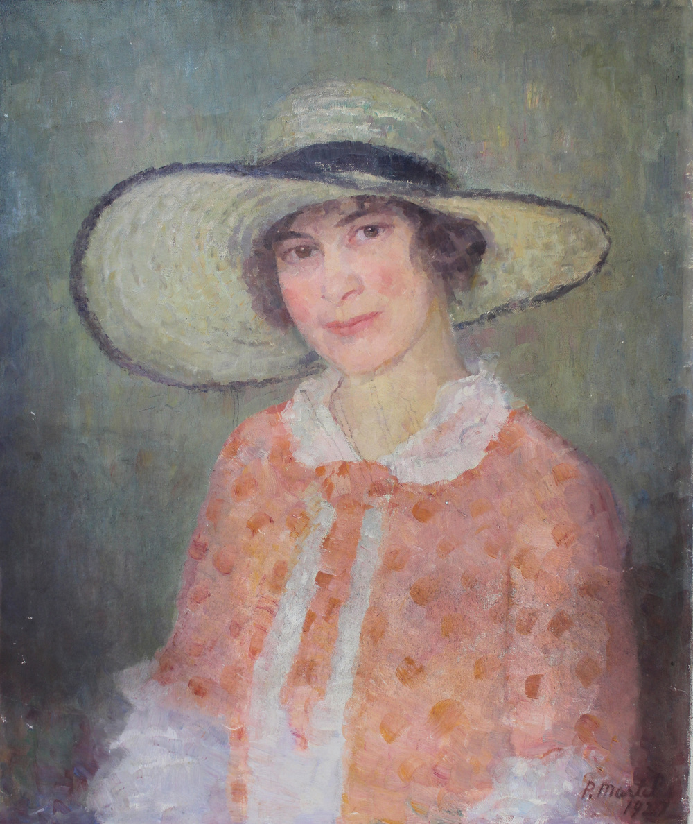 """Muriel with Hat"" 1927-Oil on Canvas 30"" x 25"""
