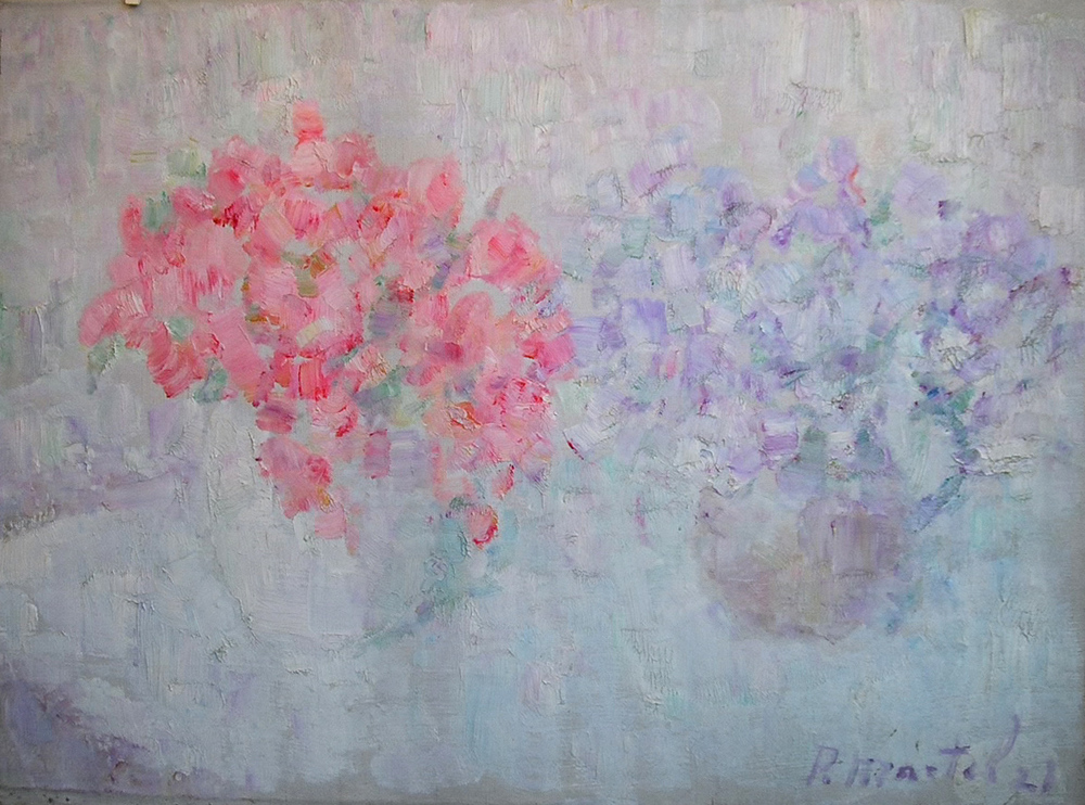 """ Sweet Peas"" 1921- Oil on Canvas 23"" x 31 1/2"""