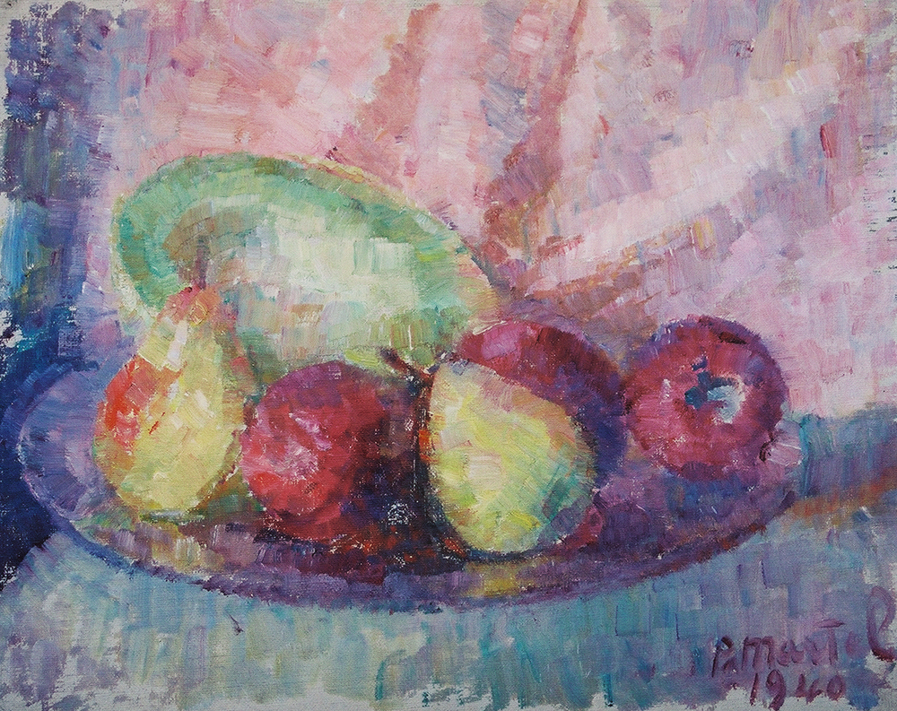 """Fruit on Parade"" 1940- Oil on Canvas 17"" x 20"""
