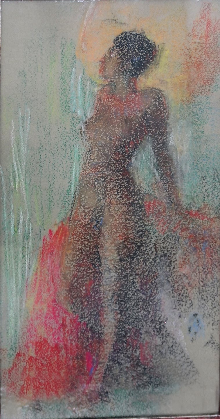 """Standing Nude"" 1934-Pastel on Paper 21 1/2"" x 11 1/4"""