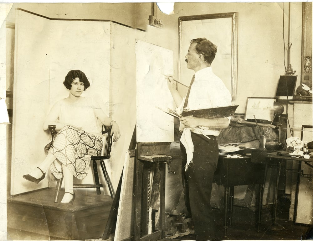Philadelphia studio Baker Building  with model circa 1940