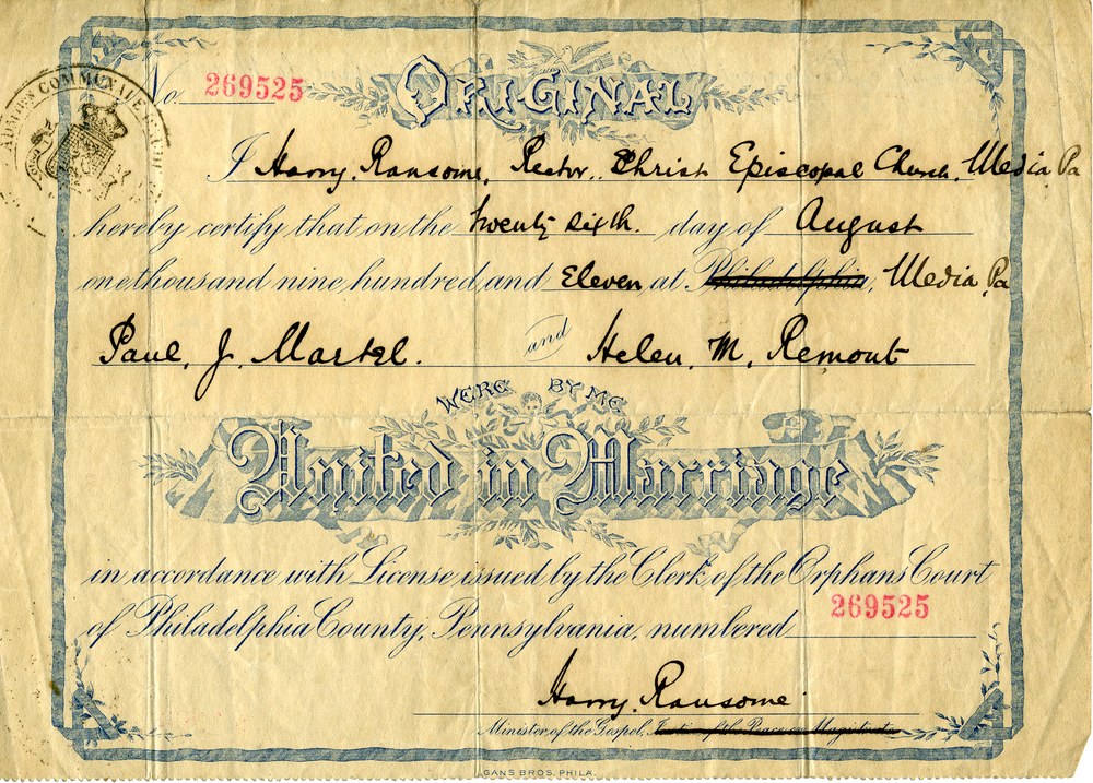 Marriage Certificate -1911- Paul and Muriel