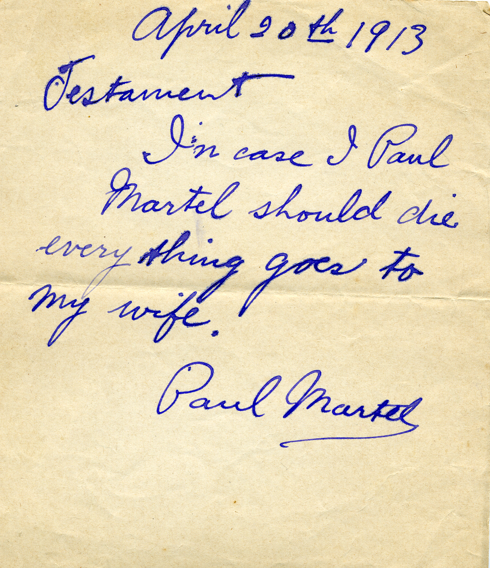 One of Paul's wills  for Muriel before taking a ship-1913