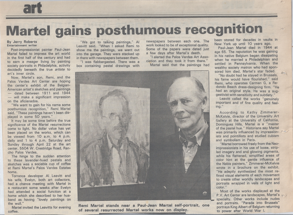 Remi Martel at the Pailos Verdes Art Center Exhibition-1986-Daily Breeze by Jerry Roberts