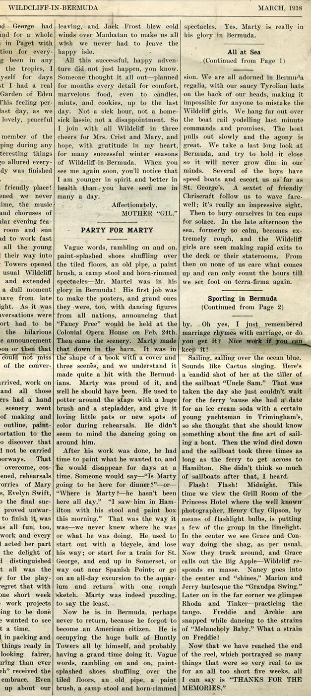 """Party for Marty"" article in the Wildlife in Bermuda Newspaper-March 1938"