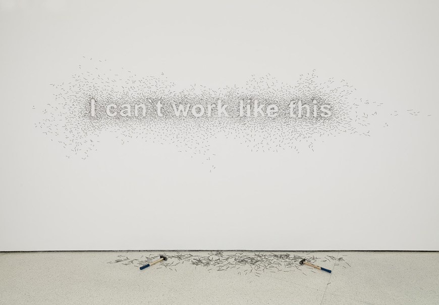 Natascha Sadr Haghighian,  I can't work like this , 2007, nails and two hammers, 6 feet 6 3/4 inches x 13 feet 1 1/2 inches (200 x 400 cm).