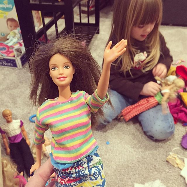 """""""Auntie Rae, you play with this one because she looks like you. You have the same hair and are wearing stripes."""" Good enough for me! I'm going to tell everyone that my niece thinks I look like Barbie!!! Side note: I might need to brush my hair and invest in some better looking sweaters."""