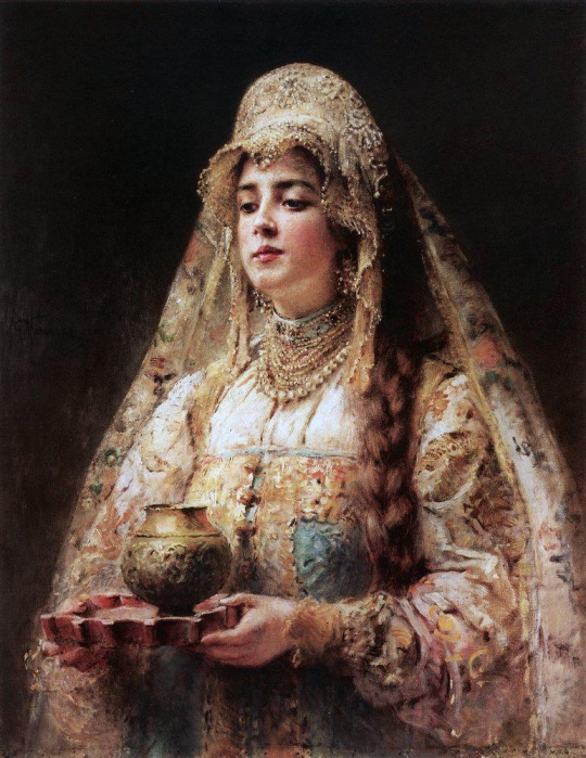 Cup of Honey, c. 1890 by  Konstantin Makovsky  (Russian, 1839–1915)    the beautiful thing about paintings is that we get to see the time eras exquisite taste in jewelry and draped fabrics!
