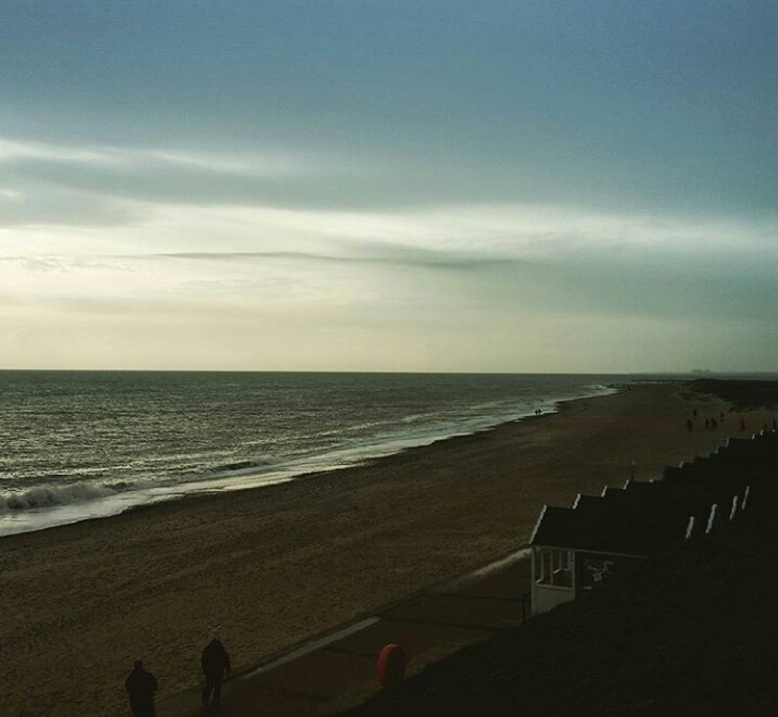 Southwold's Gun Beach on Christmas morning.