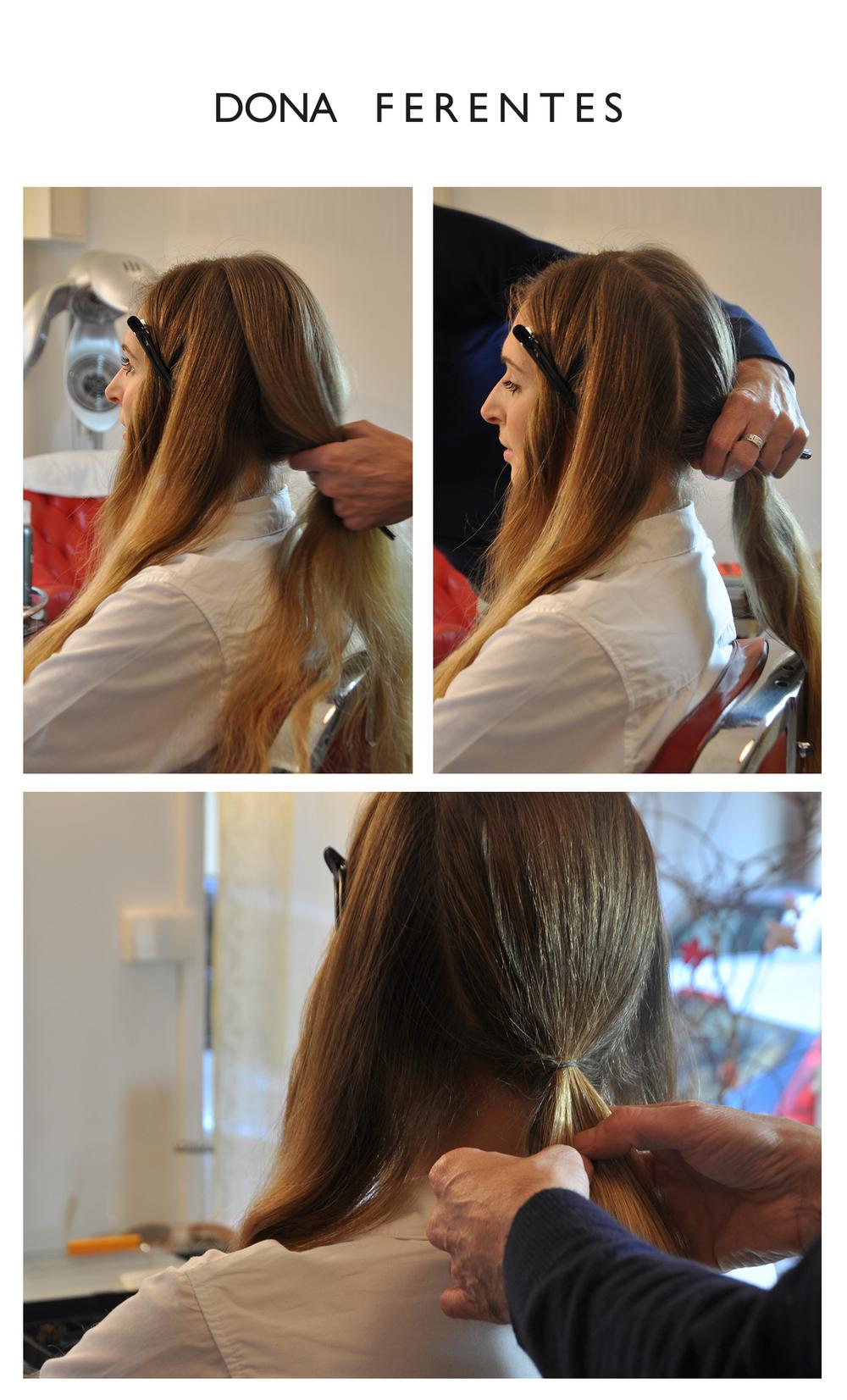 Séparer les cheveux de la tête en 2  Afin de garder que les longueurs de l'arrière du crâne  Placer deux pinces pour pas que les cheveux devant ne vous embrouille Puis séparer encore deux mèches aux extrémités  Garder qu'une grande mèche a l'arrière et faites une queue de cheval à nouer avec un élastique fin