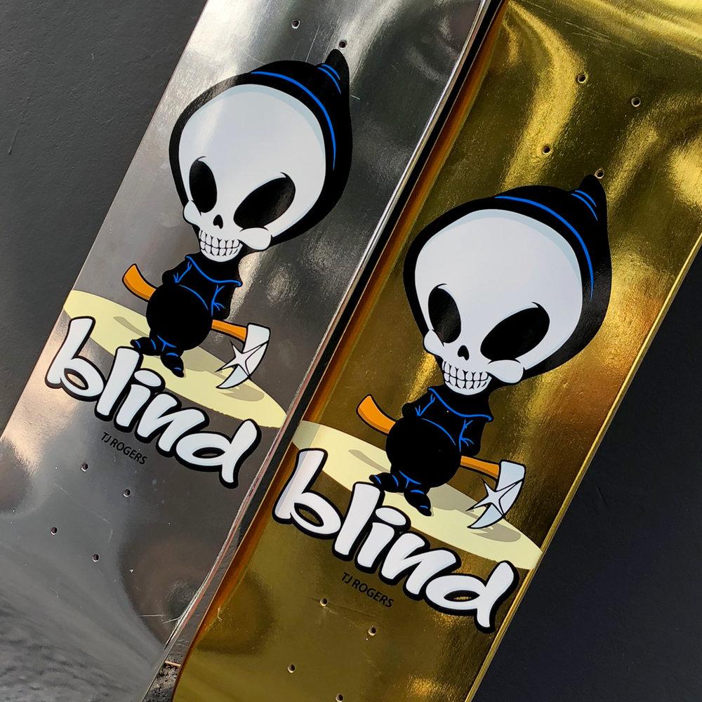 Blind Skateboards OG Reaper Gold Chrome Metallic TJ Rogers Pro Deck