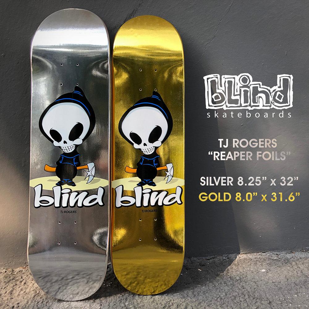 Blind Skateboards OG Reaper Gold Chrome Metallic TJ Rogers Pro Deck 2