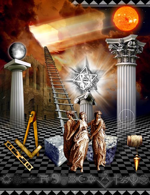 Modern Interpretation of the 1° tracing board. Credited to Greg Stewart, writer of the blog Masonic Traveler.