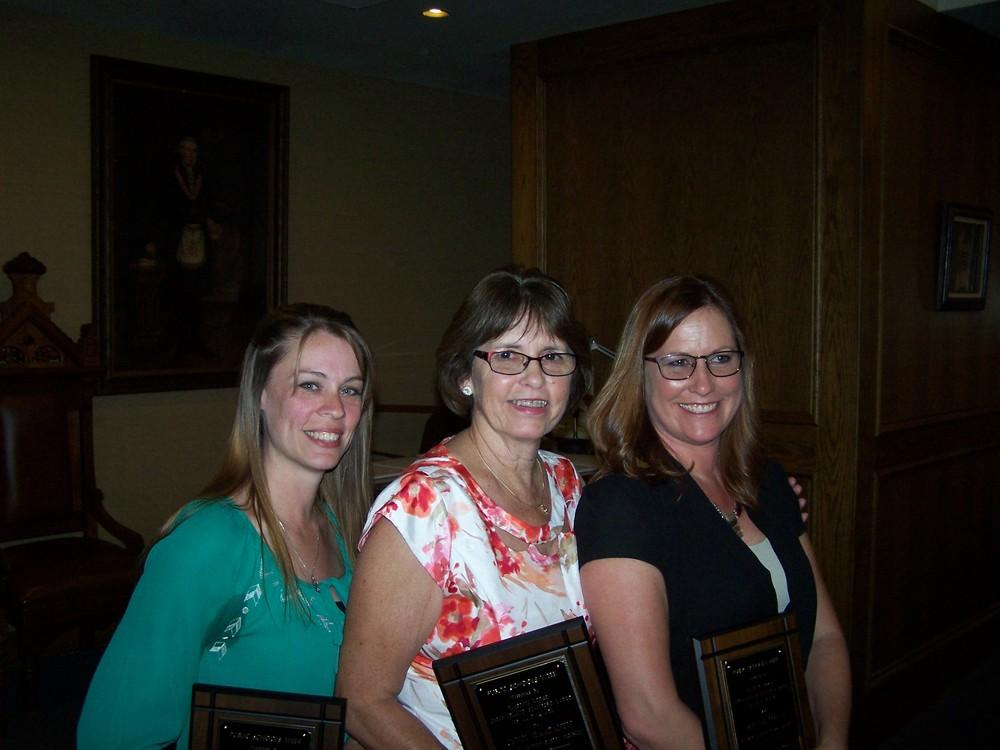 Durham Unified School District honorees: Cyndi Haapanen, Deanna Coyne, and Kari Stotler.