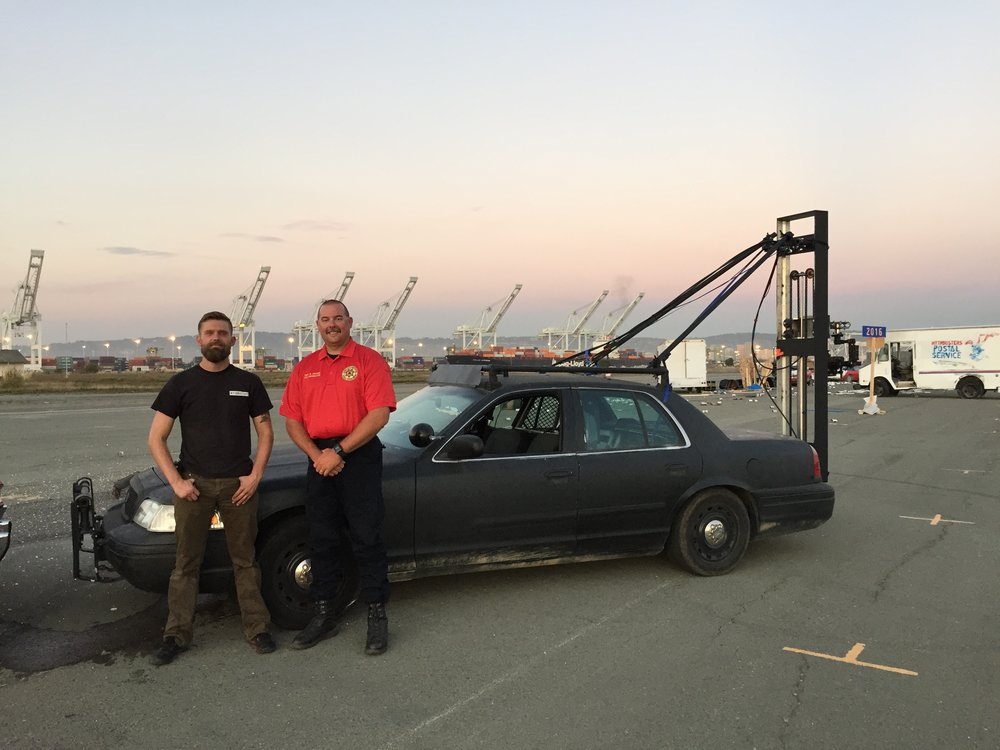 CROWN VIC CAMERA CAR ON SET FOR THE MYTHBUSTERS FAREWELL STUNT