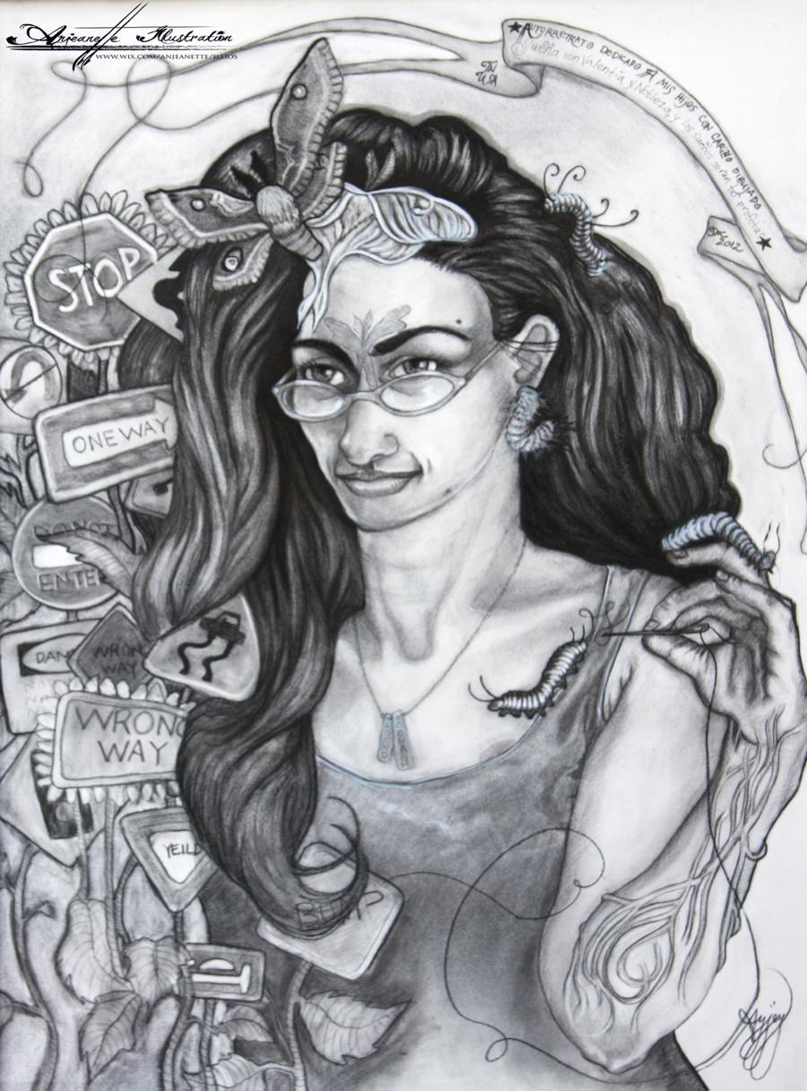 Frida Tribute Self Portrait by Nashville Area Artist Anjeanette Illustration