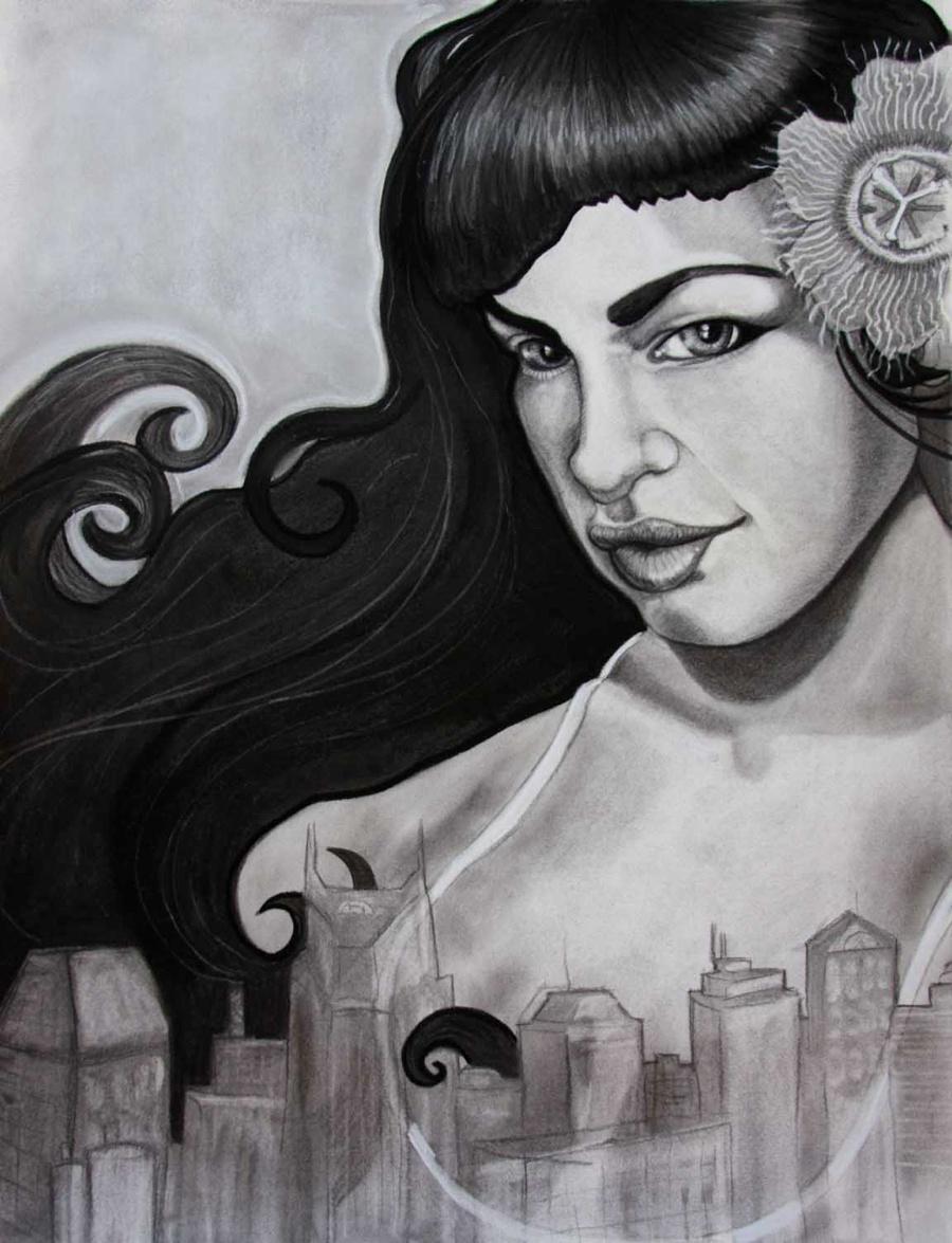 2010 Flood Girl by Nashville Area Artist Anjeanette Illustration