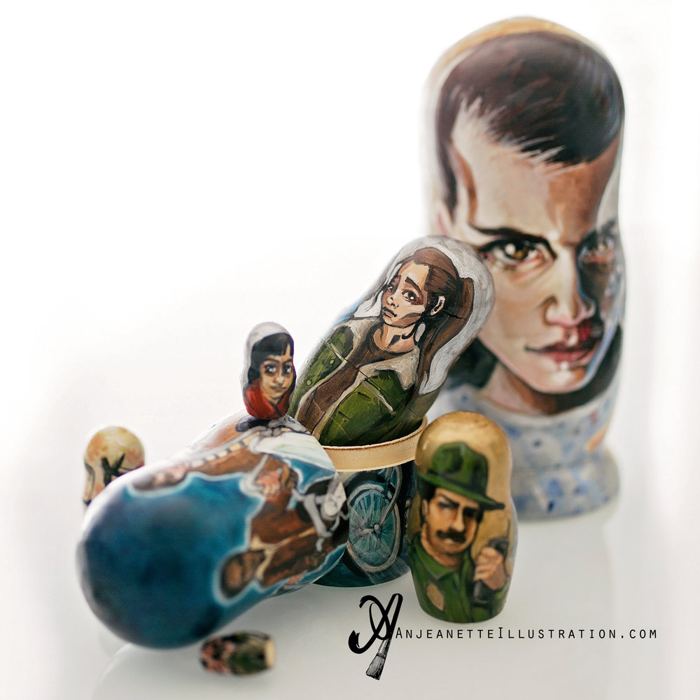 stranger things art nesting doll anjeanette illustration matryoshka pop art eleven netflix artist