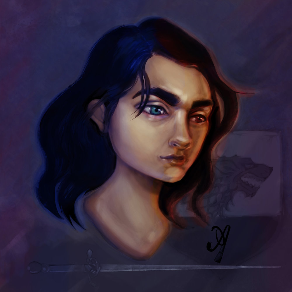arya stark art painting game of thrones fan artist anjeanette illustration