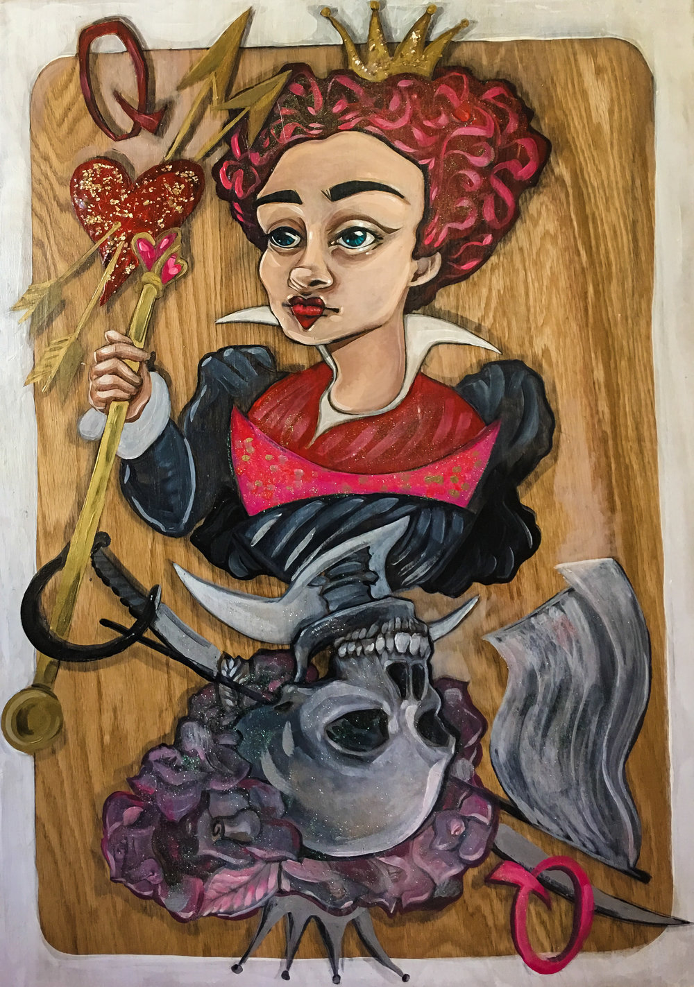 red queen card painting alice in wonderland anjeanette illustration
