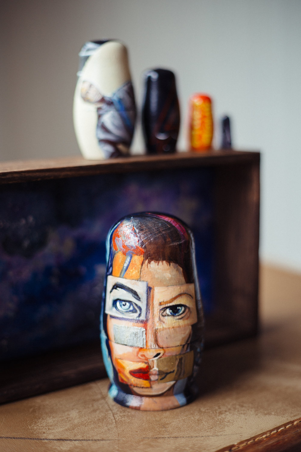 Rare Bowie B sides Matryoshka nesting dolls, acrylic on wood by  Anjeanette Illustration