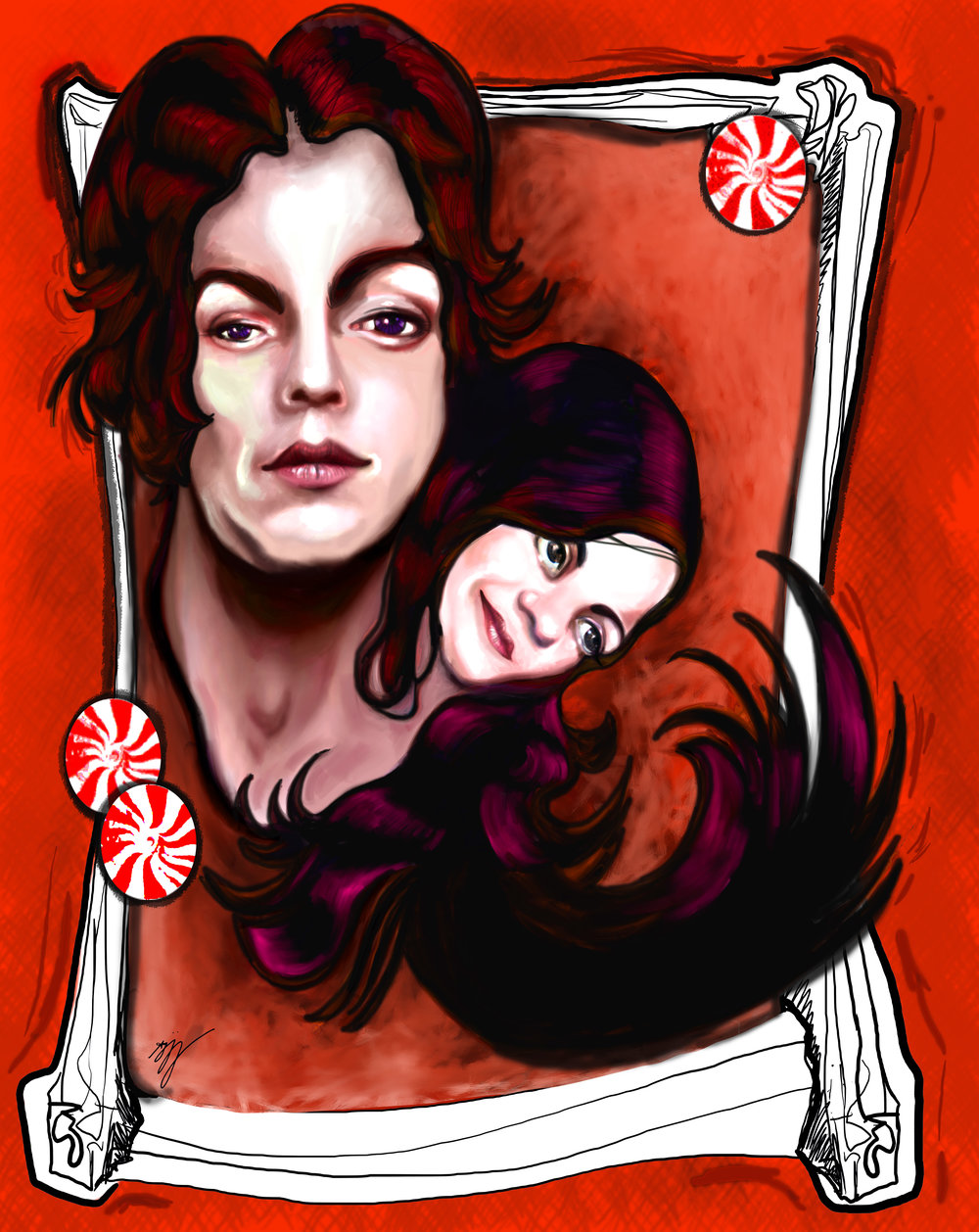 White Stripes Digital Painting 2014 Anjeanette Illustration