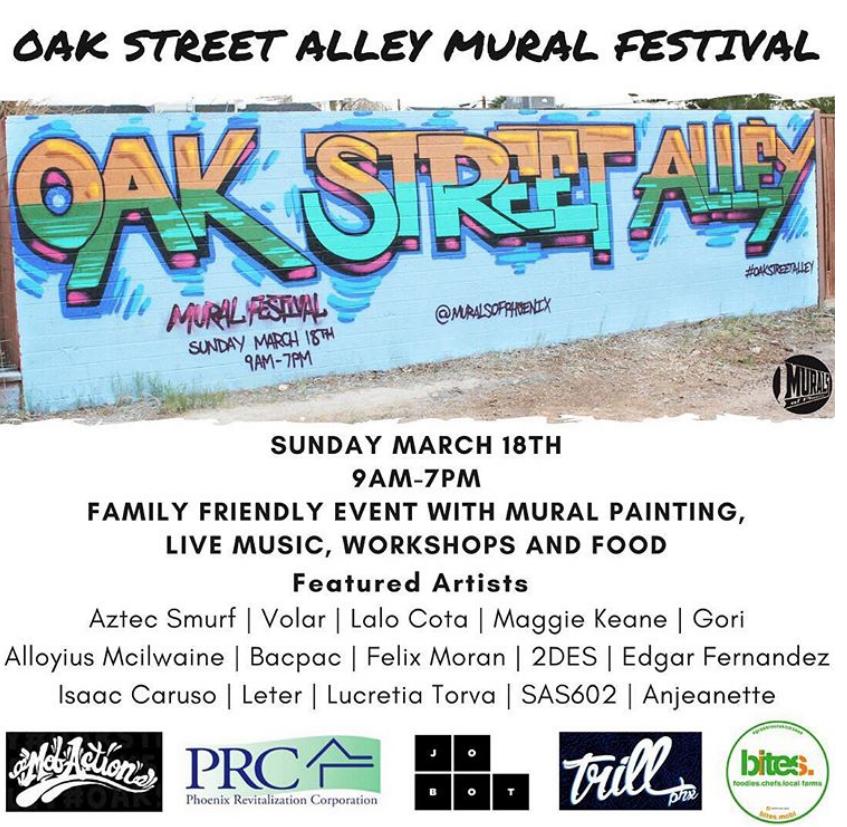 The Oak Street Alley Mural Festival phoenix artist anjeanette arizona