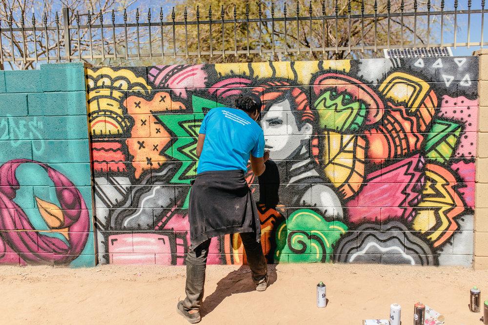 phoenix mural artist alloyius mcilwaine Phoenix artist mural arizona  phoenix artist anjeanette illustration oak street alley festival coronado neighborhood