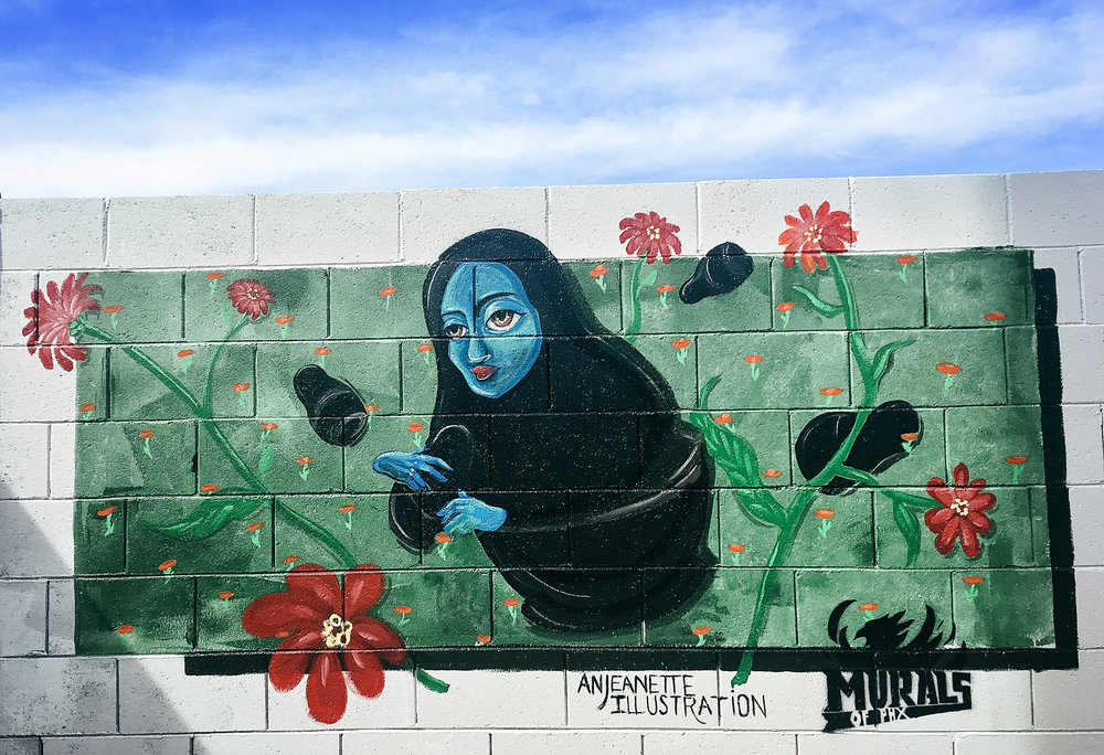 Matryoshka Mural on Oak Street Alley wall, between 14th & 15th Coronado Neighborhood