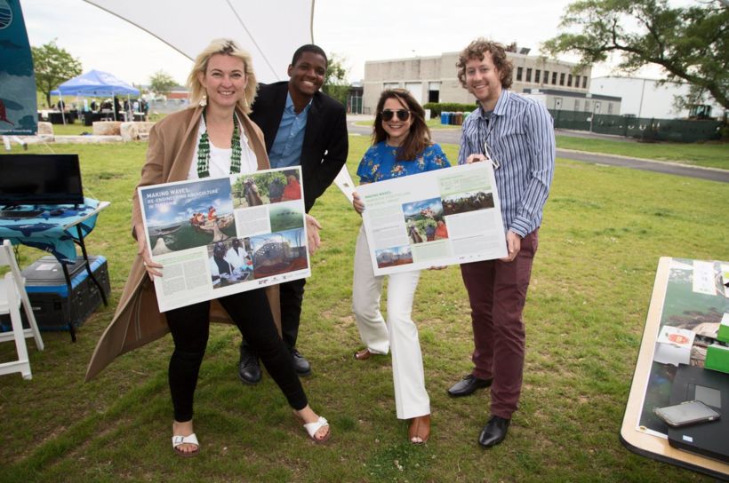 COURTESY OF WORLD OCEANS FESTIVAL  VR Pavilion at the 2017 World Ocean Festival on Governors Island in New York featuring  Making Waves  a film on aquaculture innovators in Tanzania. (L-R) Stephanie Kimber of  DFATiXc , and Matt Scott, Davar Ardalan, and Ben Kreimer of  SecondMuse .
