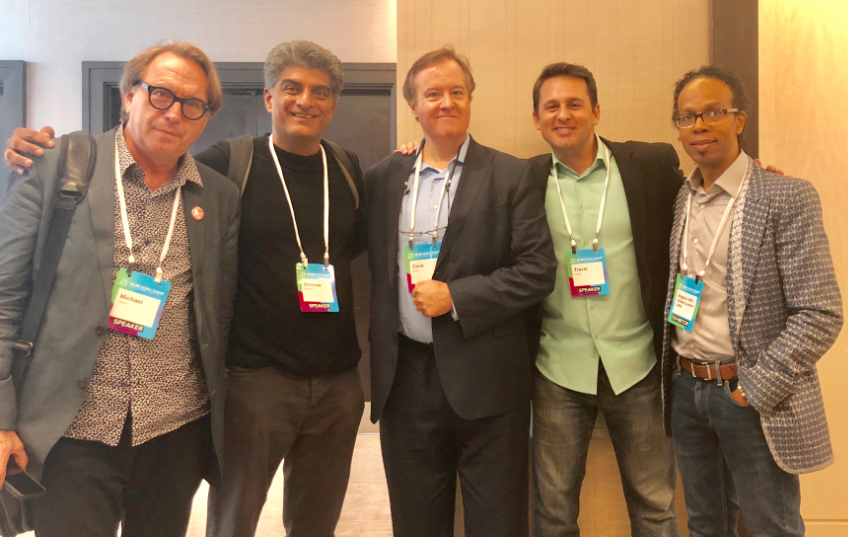 Michael Owen, from MediaCombo; Jeff Old, from Silverscreen Cinematics; Chris Pfaff, from Chris Pfaff Tech Media, and Srinivas Krishna, from AWE Company, prior to, and on the 'Producing in XR: What to Know Before Immersion' panel, September 22, 2018