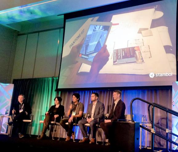 """XR Marketing – The Future of Real Estate"" Panel: (left to right) Aubrey Tucker (Stantec), Emily Olman (SpatialFirst), Dogu Taskiran (Stambol Studios), Nathan Nasseri (REinVR), Matt Grant (LNG Studios) Image Courtesy of Omicron"