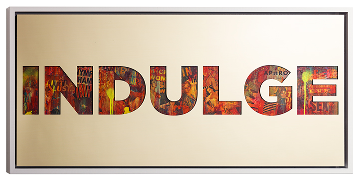 Indulge , 2015, gold aluminium, vintage erotica and spray paint on panel, 24 x 50 inches  (inquire)