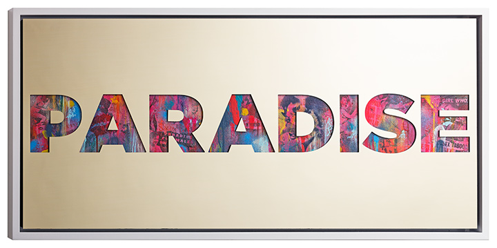 Paradise , 2015, gold aluminium, vintage erotica and spray paint on panel, 24 x 50 inches  (inquire)
