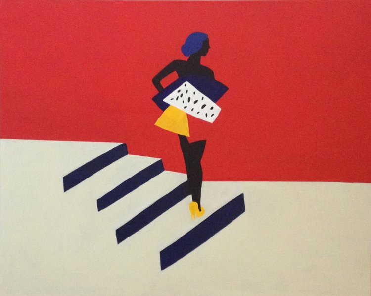 Woman on Stairs , 2016, acrylic on canvas, 24 x 30 inches  (inquire)