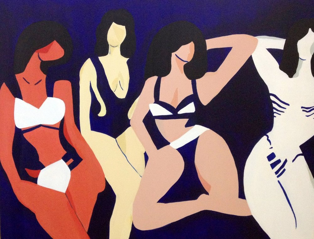 Bikini Girls , 2016, acrylic on canvas, 30 x 36 inches  (inquire)