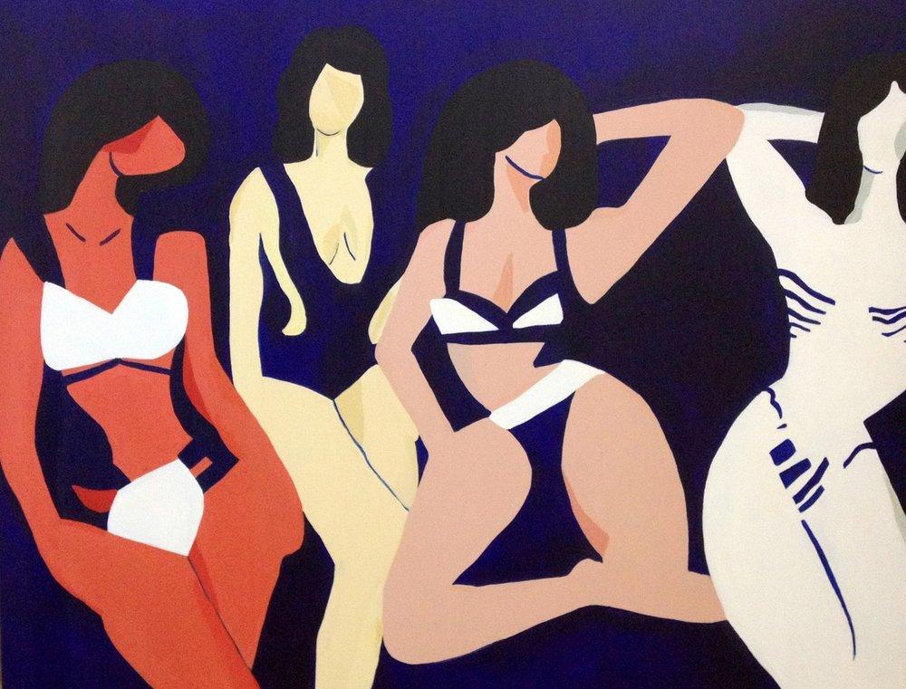 Bikini Girls , 2016, acrylic on canvas, 30 x 36 inches  (inquire)