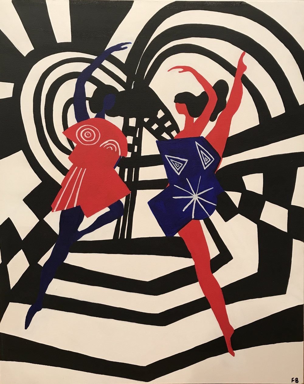 Striped Dancers , 2016, acrylic on canvas, 30 x 24 inches  (inquire)
