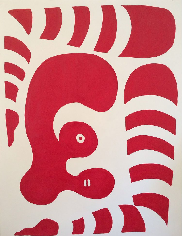 Striped Red Woman , 2016, acrylic on paper, 49 x 38 inches  (inquire)