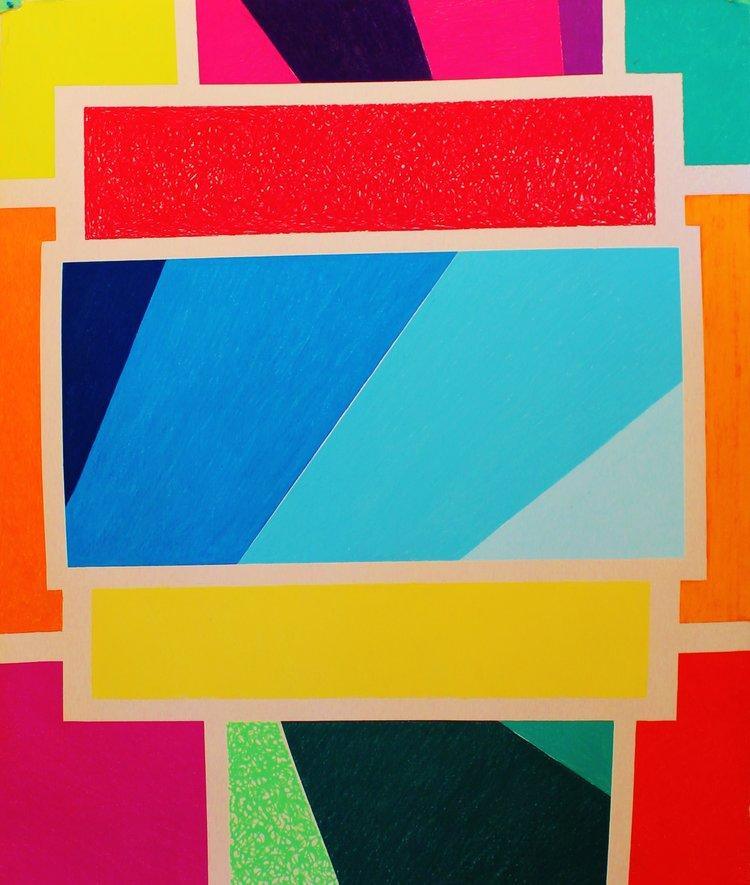Zig-Zag , 2015, soft pastel on rag paper, 59.5 x 50 inches  (inquire)