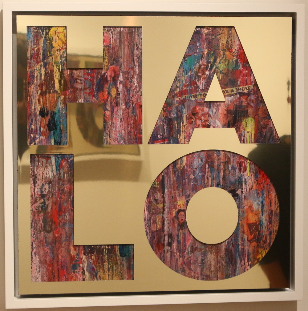 Halo ,2015, gold aluminium, vintage erotica and spray paint on panel, 26 x 26 inches  (inquire)